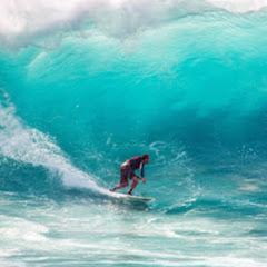海部河口と生見の波